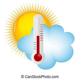 云, 天气, 温度计孙, 图标