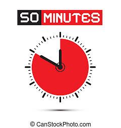 五十, 分鐘, 停止表, -, 鐘, 矢量, 插圖