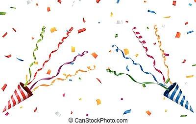 五彩紙屑, 黨, 爆炸, 發出砰的響聲的人, 旗幡