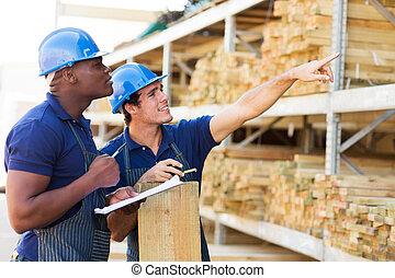 五金店, 工人, 在, 木材, 部門
