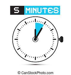 五, 分鐘, 停止表, -, 鐘, 矢量, 插圖
