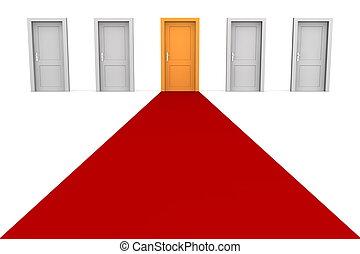 五, 門, 以及, a, 紅的地毯, -, 橙