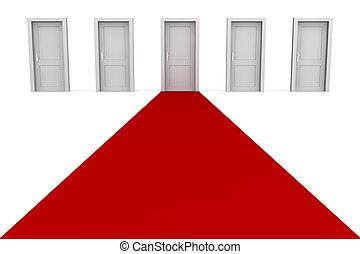 五, 門, 以及, a, 紅的地毯, -, 灰色