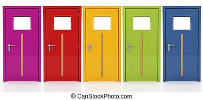 五, 門, 在, 不同, 顏色