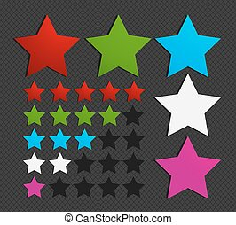 五, 集合, 星, 鮮艷, 插圖