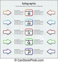 五, infographic, 箭, 選擇