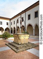 井戸, 古い, 中心, 回廊