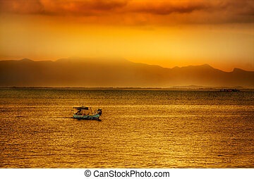 亚洲人, 日落, 结束, 水