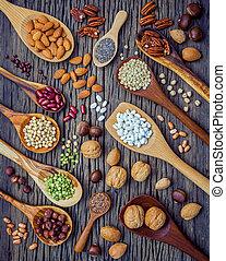 亜麻, ぼろぼろ, アーモンド, pinto, 腎臓, 穀粒, 別, 様々, , spoons., 種類, ナッツの殻...