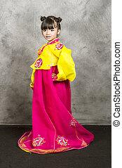 亞洲人, 小女孩, 穿戴, 韓國語, 傳統, 衣服