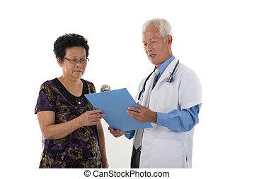 亞洲人, 年長者, 醫生, 由于, 女性, 病人