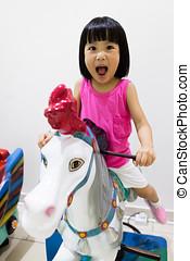 亞洲人, 很少, 漢語, 女孩, 騎馬, 上, a, 馬