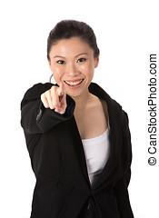 亞洲女性, 指向, 照像機。