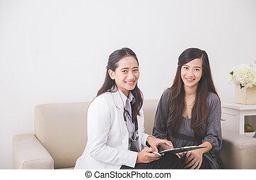亞洲女性, 病人, 咨詢, 由于, a, 女性 醫生