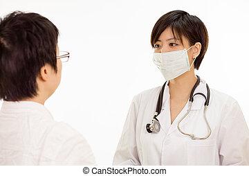 亞洲女性, 醫生, 由于, 病人