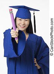 亞洲的女人, 穿, 藍色, 畢業, 藏品, 鉛筆, 被隔离, 白色 背景