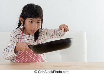 亞洲的女孩, 烹調, 在家, 食物, concept.