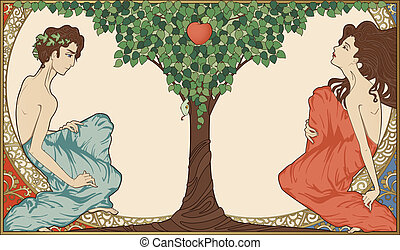 亞當和前夕, art-nouveau, 風格