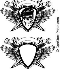 交差させる, ナイフ, 保護, 頭骨, ベレー帽