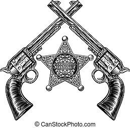 交差させる, バッジ, ピストル, 星, 保安官