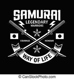 交差させる, 剣, katana, 侍, 黒, 紋章