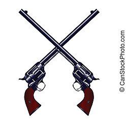 交差させる, 銃