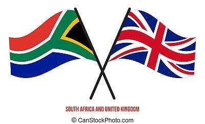 交差させる, style., 正しい, アフリカ, 南, proportion., 平ら, 王国, 旗, 色, 役人, 合併した
