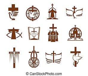 交差点, アイコン, 鳩, 司祭, 聖書, 宗教