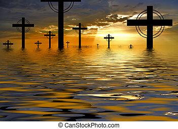 交差点, シルエット, そして, ∥, 日没 の 雲