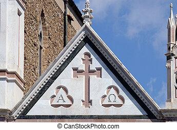 交差点, -, ∥ディ∥, 有名, バシリカ, イタリア, santa, (basilica, cross), franciscan, 神聖, croce, 教会, フィレンツェ