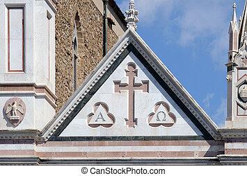 交差点, 教会, croce, バシリカ, santa, franciscan, イタリア, cross), -, (...