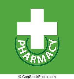 交差点, 薬局, ベクトル, 緑の背景, ロゴ