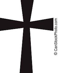 交差点, cross., style., 宗教, アイコン, シンボル。, キリスト教, シンボル, 平ら, 教会, 白, バックグラウンド。
