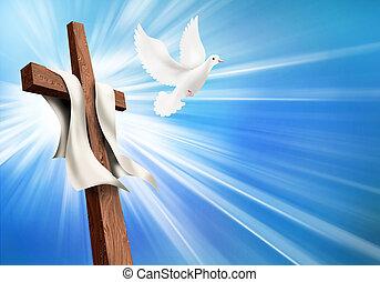 交差点, resurrection., イラスト, 死, キリスト教徒, dove., はりつけ, 後で, 生活, 概念