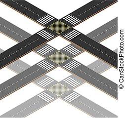 交差道路, セクション, multilevel
