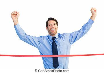 交差, ビジネスマン, 仕上げライン, 幸せ