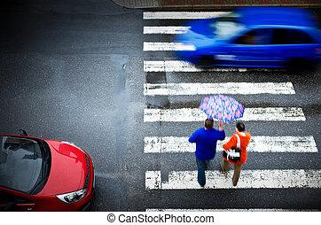 交差, 歩行者, 自動車