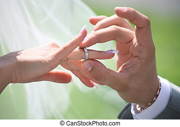 交換, リング, 結婚式
