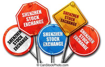 交換, レンダリング, 印, 集めなさい, 通り, 株, 荒い, 3d, shenzhen