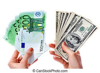 交換, 美元, 到, 歐元, 錢, 在, 女性, 手。