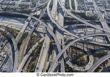 交換, 航空写真, タラップ, 高速道路, ロサンゼルス