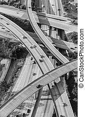 交換, 航空写真, san, フェルナンド, 高速道路, 黒, 白, 谷