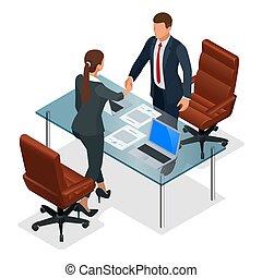 交渉, ∥あるいは∥, 等大, 生産的である, ビジネス, オフィス。, concept., 後で, 協力, ...