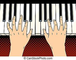 交給在上, 鋼琴鑰匙, 流行藝術, 矢量, 插圖