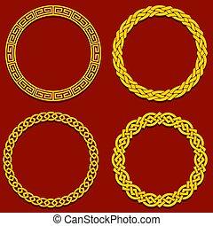 交織, 背景。, 第一流, 葡萄酒, frame., 紅色, 漢語, 輪, 元素