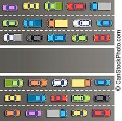 交通堵塞, 在道路上, 由于, 汽車, 上, 灰色