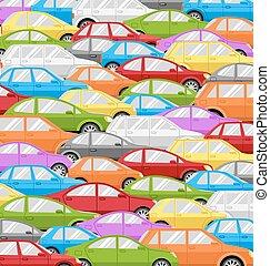 交通堵塞, 由于, cars., 路, 背景