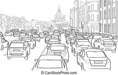交通堵塞, ......的, 汽車