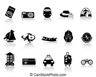 交通機関, そして, 旅行 アイコン, 白, 背景