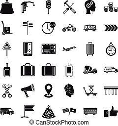 交通機関, アイコン, セット, 単純である, スタイル